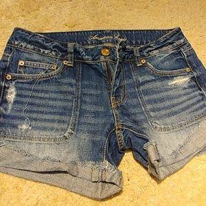 Distress denim shorts